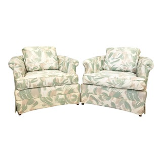 1980s Art Deco Upholstered Club Chairs - a Pair