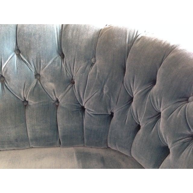 Blue Velvet Curved Tufted Sofa Chairish
