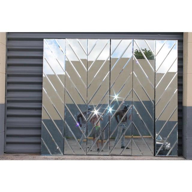 Mid-Century Modern Beveled Mirror Screen - Image 2 of 11