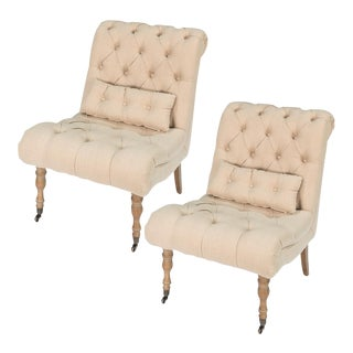 Sarreid Ltd Tufted Boudoir Linen Chairs - A Pair