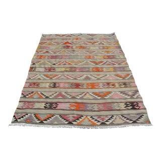 Vintage Turkish Kilim Rug - 4′11″ × 6′11″