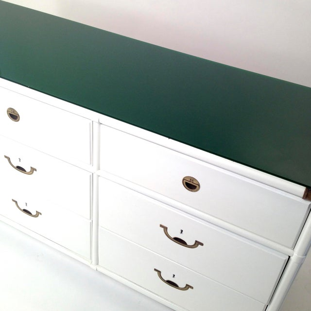 Drexel Lacquered White with Emerald Lucite-Top Campaign Dresser - Image 3 of 9