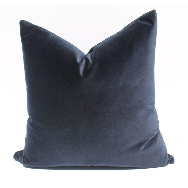 Indigo Blue Italian Velvet Pillows - A Pair - Image 2 of 2