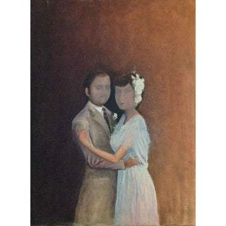 Vintage Surreal Lovers Painting