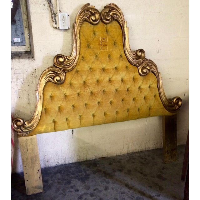 Vintage Velvet Tufted Italian Regency Full Queen Size