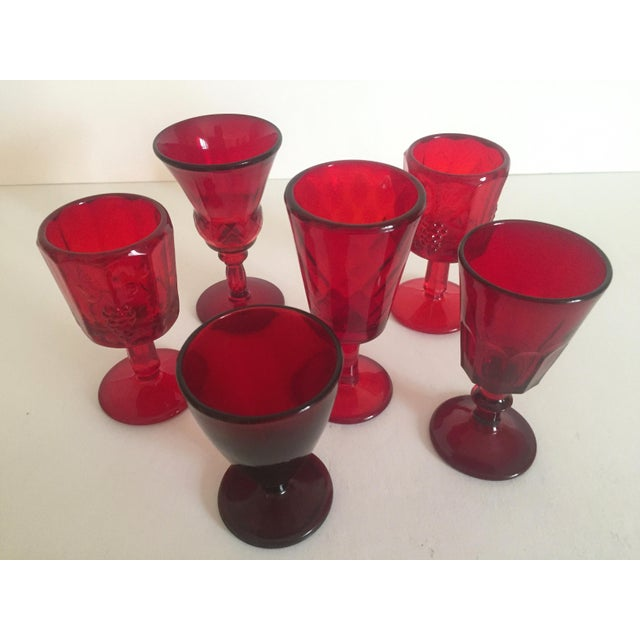 Vintage Mid-Century Ruby Red Wine Glasses - Set of 6 - Image 3 of 9