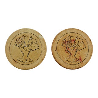 Antique Clay Poker Chips Engraved Poker Hand - Set of 2