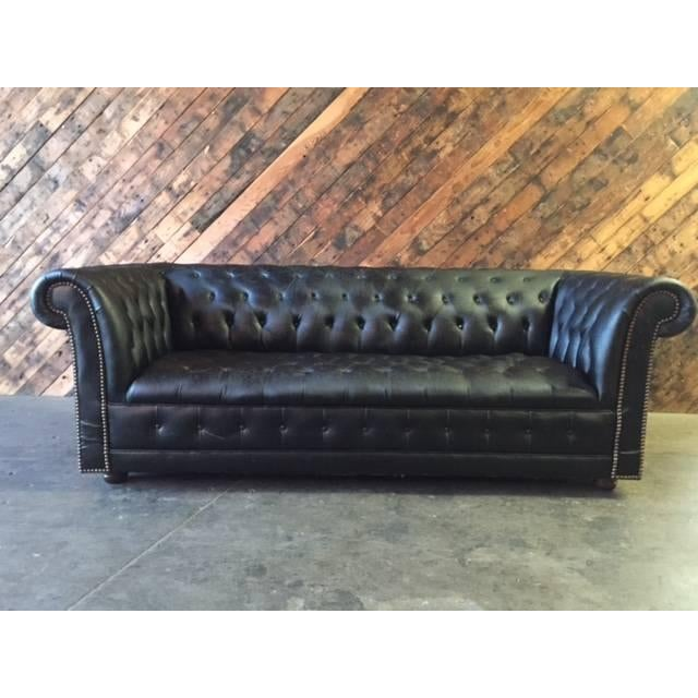 Funky Old Vintage Black Chesterfield Sofa - Image 2 of 10
