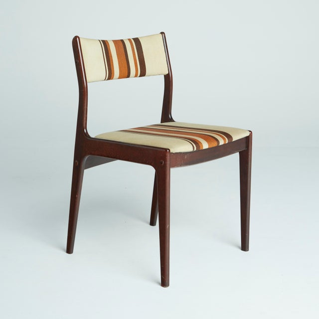Danish Modern Striped Dining Chairs Set Of 6 Chairish