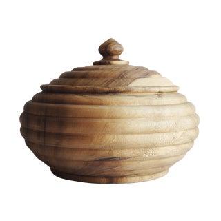 Large Vintage Wood Lidded Bowl