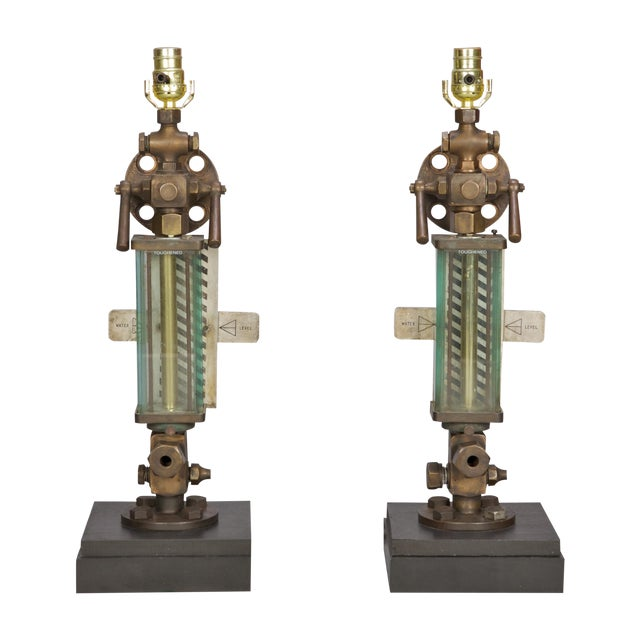 Brass, Glass & Iron Industrial Table Lamps - Pair - Image 1 of 5