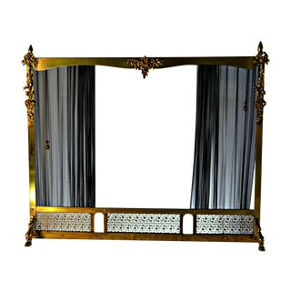 Vintage Brass & Sliding Iron Mesh Fireplace Screen