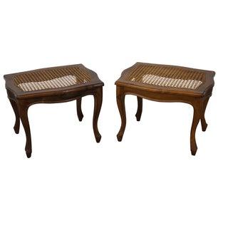 Vintage Italian Walnut Caned Seat Ottomans - Pair