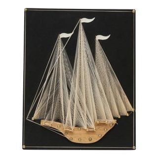 Vintage String Art Sailboat Handmade 1970's