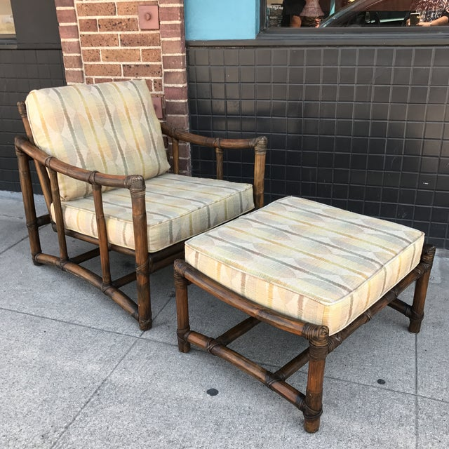 Vintage McGuire Lounge Chair & Ottoman - Image 2 of 10