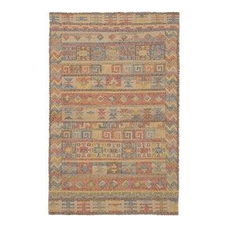 Turkish Kilim Sumak Style Distressed Wool Rug - 4′1″ × 8′