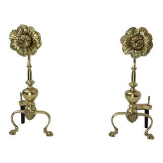Polished Brass Flower Andirons - A Pair