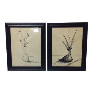 Original Pen & Ink Signed Flower Drawings - A Pair