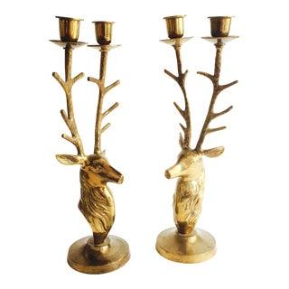 Large Vintage Brass Deer Candle Holders