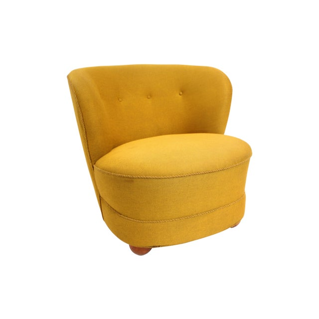 1940s Chartreuse Slipper Chair - Image 1 of 7