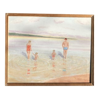Pinks & Blues Mid-Century Family Beach Scene Painting