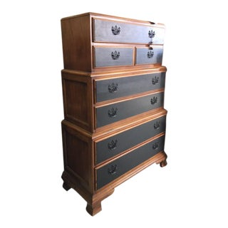 Thomasville Chippendale Style Stacked Case High Boy Chest