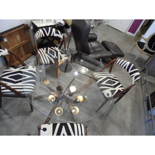 Danish Modern Glass Table & 4 Chairs - Image 8 of 8