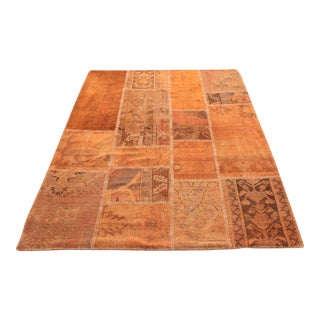 Turkish Vintage Overdyed Patchwork Oushak Rug - 4′11″ × 6′8″