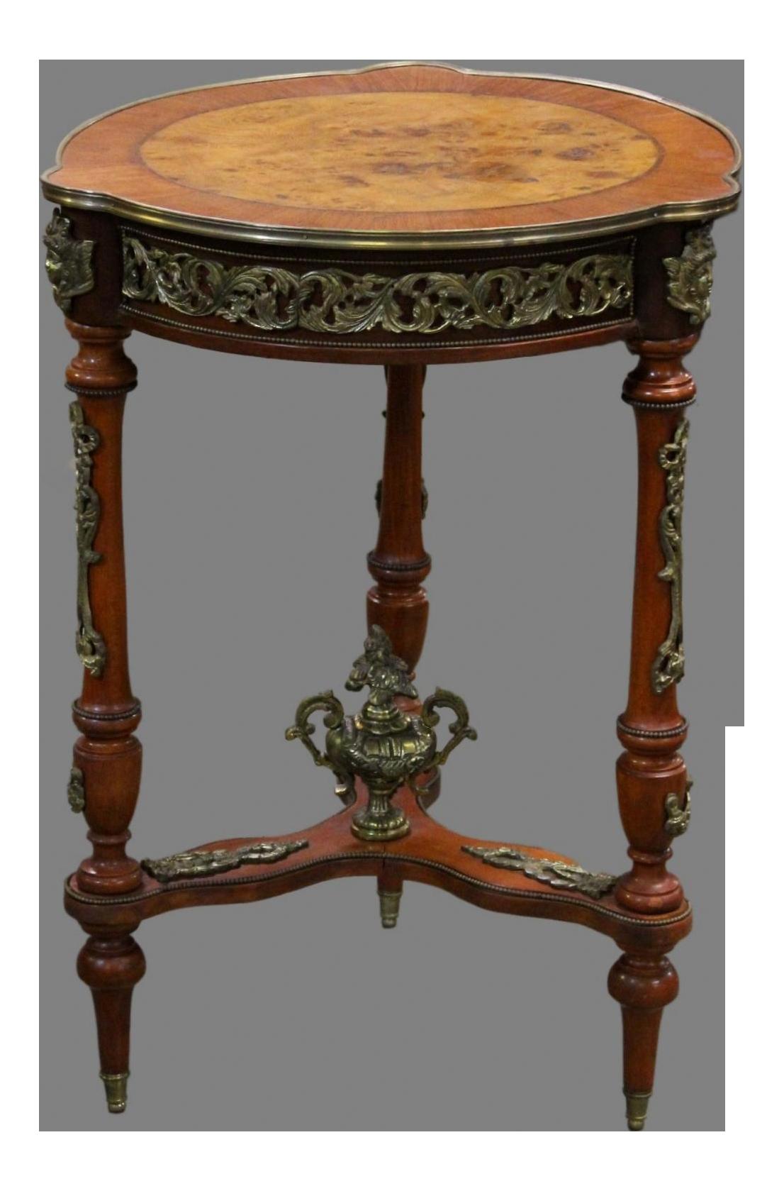 Vintage French Louis XVI Regal Empire Style Ornate Brass Ormolu Walnut Side  Table