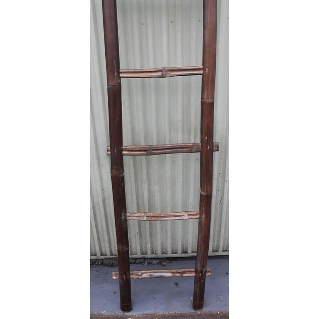 Folky 19th Century Bamboo Handmade Textile Ladder - Image 8 of 8