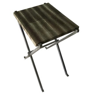 Mecox Snakeskin Topped Metal Side Table