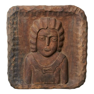 Deeply Carved Wall Plaque of a Young Girl