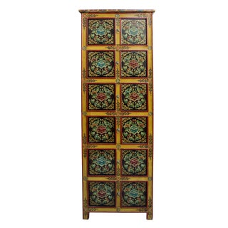 Chinese Tibetan Floral Graphic Tall Slim Multi Shelves Cabinet