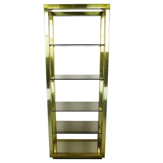 Vintage Brass & Smoked Glass Four-Shelf Étagère - Image 1 of 5