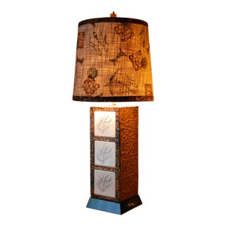 Mid-Century Copper & Tiled Lamp