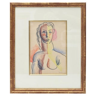 Donald Deskey Drawing, Nude Female, Charcoal, Pastel, Colored Pencil, circa 1926