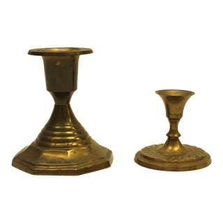 Mid-Century Brass Candle Holders - Pair
