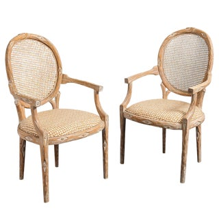 Mid-Century Faux Bois Cane Back Chairs - a Pair