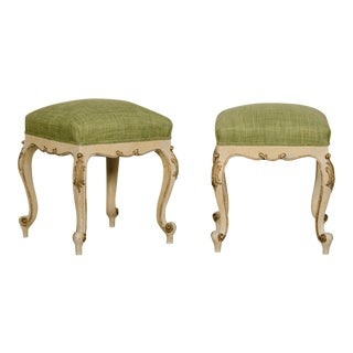 Pair Antique French Louis XV Style Square Stools, Original Paint, Gilded Finish, Belle Epoque Period circa 1895