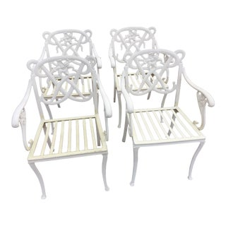Brown Jordan White Day Lily Arm Chairs - Set of 4