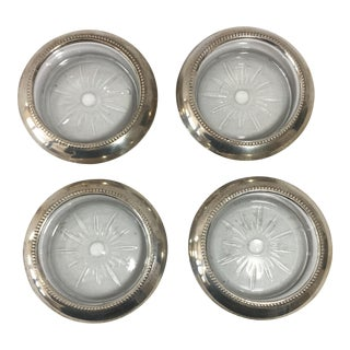 Sterling Silver and Glass Coasters - Set of 4