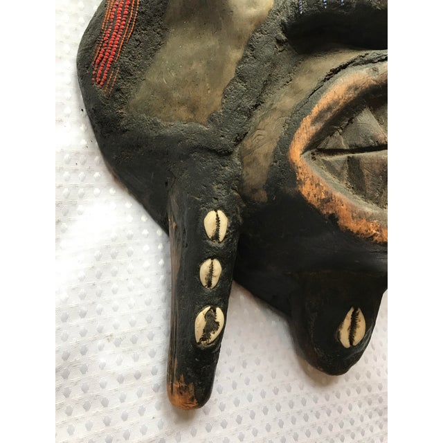 Metal Beads & Shells African Wooden Mask - Image 7 of 11