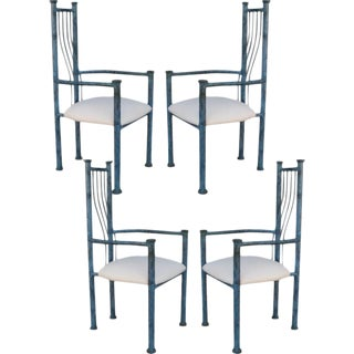 Blue Patinated Metal Chairs - Set Of 4