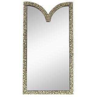 "48""Tall Faux Mother Of Pearl & Black Lacquer Mirror By Baker."