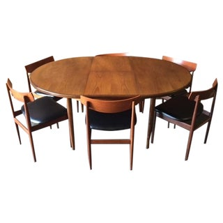 Mid-Century Danish Teak Dining Table With 6 Chairs