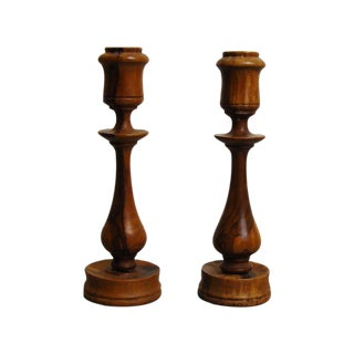Olive Wood Candleholders - A Pair