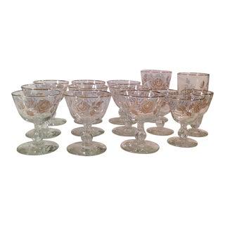 Mid-Century White Rose & Gold Glasses - Set of 14