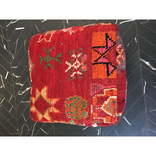 Red Moroccan Boho Chic Floor Pouf - Image 2 of 4