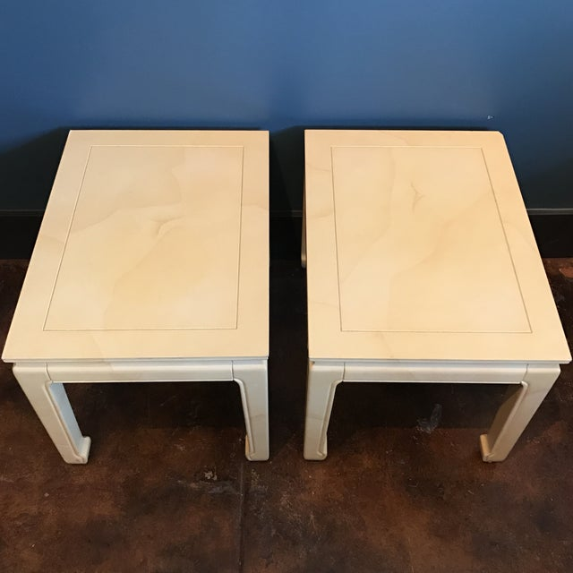 Henredon Goatskin Lacquered End Tables - a Pair - Image 6 of 9