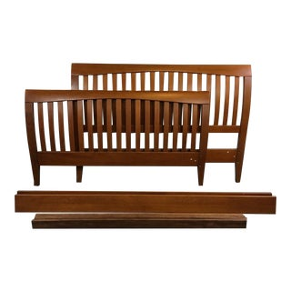 Contemporary Carved Wood Slatted Queen Bed